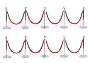 10 stanchions 8 ropes
