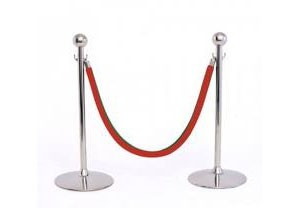 2 stanchions and 1 rope