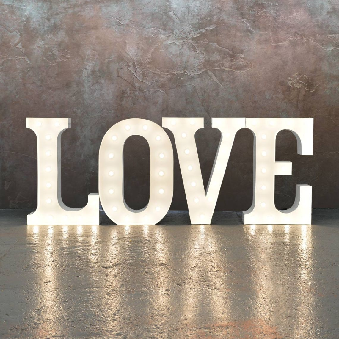 """LOVE"" Light Up Letters - Classic White - 1.2m"