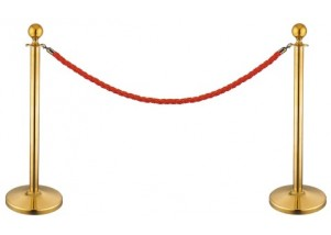 gold stanchions with red barrier rope